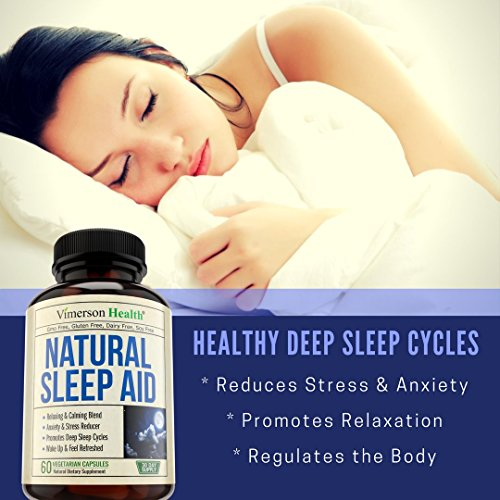 Natural Sleep Aid Pills - with Valerian, Melatonine & Natural Herbs - Premium Quality Sleeping Supplement with Chamomile, Vitamin B6, L-Tryptophan, Ashwagandha, L-Taurine, St. John's Wort, L-Theanine by Vimerson Health (Image #4)