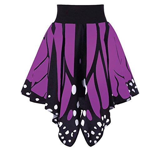 famesale Falda Plisada Uniforme de la Cintura Alta de la Mariposa Falda de Las Señoras Impresión Irregular Falda Falda Plisada Retra Novia de la Boda Púrpura