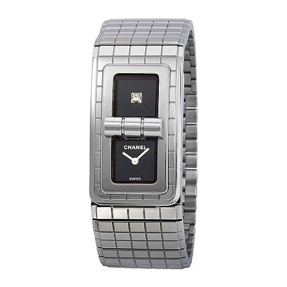 Chanel código Coco lacado en negro Dial Damas Reloj h5144