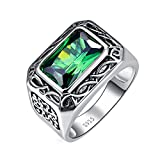 Nuncad Men's 6.85ct 8X12mm Emerald Cut Green Emerald 925 Sterling Silver Ring Band Size 13