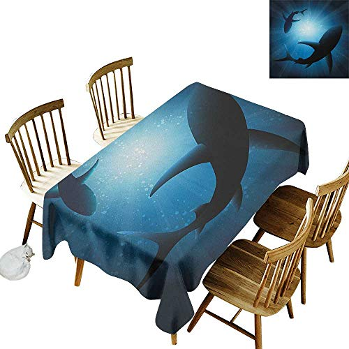 kangkaishi Easy to Care for Leakproof and Durable Long tablecloths Outdoor Picnic Silhouette of The Fishes Swimming at Twilight Night Moon Mystic Magical Sea Scenery W60 x L102 Inch Dark Blue