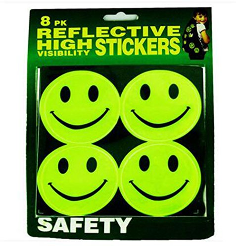 Price comparison product image Smile Face Reflective Safety Stickers,Baby Safety Reflector Decal Pack of 8