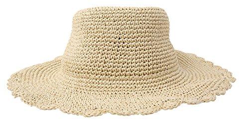 Soleil Eté Bord Plage De Fashion Chapeau Femm Large Vacance En Beige Pliable Acvip Pour Paille S4TqIHnxO