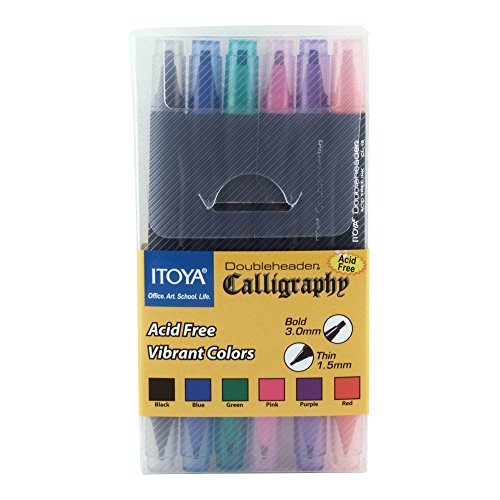 Double Marker America Tip (Itoya CL-100 Double Header Calligraphy Marker Set(6 colors))