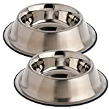 OurPets DuraPet Premium No-Tip Stainless Steel Pet Bowls, Medium (2 Pack)
