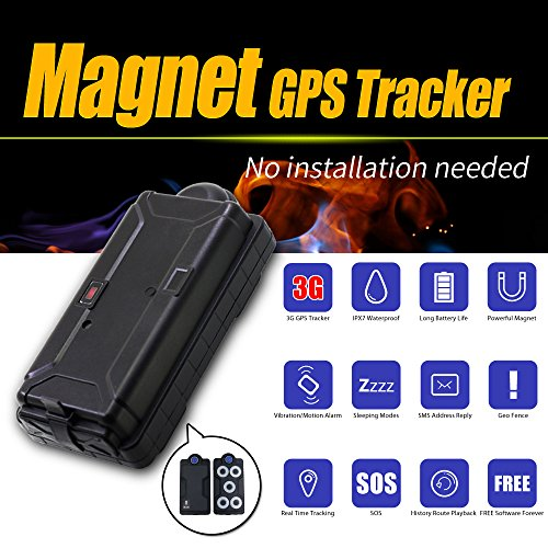 VJOYCAR GPS Tracker Real 3G No Monthly Fees Free Contract Waterproof Magnet Long Battery Life Real Tracking Devices for Personal Assets Cars & Vehicles