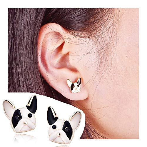 French Bulldog Head - palettei French Bulldog Dog Earrings - White/Black Pets Dog Head Earring for Women