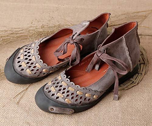 Zapatos Ahuecan Fuera 39 Tamaño Marrón Hechos De Mujeres Las Marrón Cuero Hacia Planos Con Los Jane Cordones Mano Eu A Mary color Fuxitoggo HfqwEYn1n