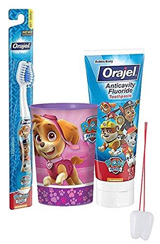 "Paw Patrol ""Skye"" Inspired Girls 3pc Bright Smile Oral Hygiene Set! Toothbrush, Toothpaste & Mouthwash Rinse Cup! Plus Bonus ""Remember To Brush"" Visual Aid"