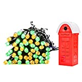 PryEU Colored Christmas String Lights Outdoor 100 LED 12M 39.4Ft 8 Modes Multicolor Waterproof Salt Water Powered (No Solar or Battery) for Gazebo Yard Porch Garden Tree Party Holiday Ambient Lighting