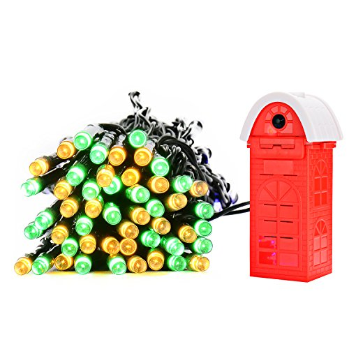 (PryEU Outside Colored Twinkle LED String Lights 10M 8-Mode Waterproof for Indoor Outdoor Garden Christmas Tree Salt Water Powered NO-Solar NO-Battery NO-Electricity)