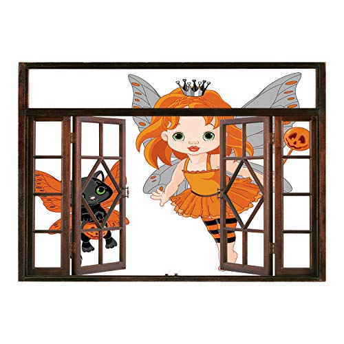 SCOCICI Wall Sticker,Window Looking Out Into/Halloween,Halloween Baby Fairy and Her Cat in Costumes Butterflies Girls Kids Room Decor Decorative,Multicolor/Wall Sticker Mural