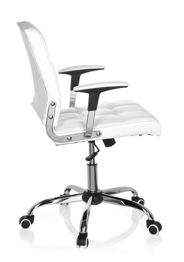 hjh OFFICE Ernesto Silla de Oficina, Piel_sintética, Blanco, 59 x 25 x 61 cm