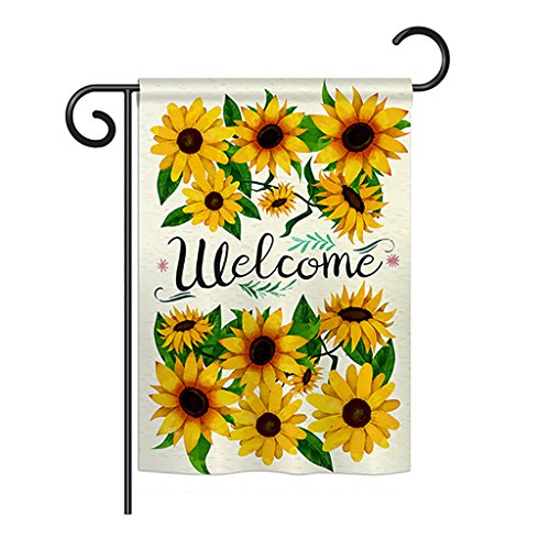 - Breeze Decor FL-G-104091-IP Welcome Sunflowers Bouquet Garden Flag, 13
