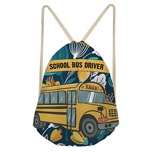 Showudesigns School Bus Drawstring Bag Kids Student Sport String Sack Backpack Gympack Girls Boys Gift
