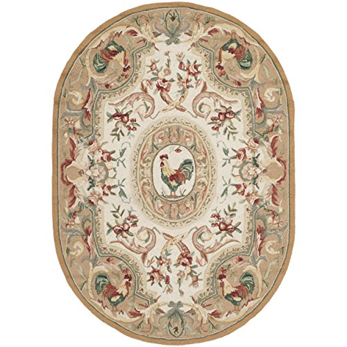 Safavieh Chelsea Collection HK48T Hand-Hooked Taupe Premium Wool Oval Area Rug (7'6