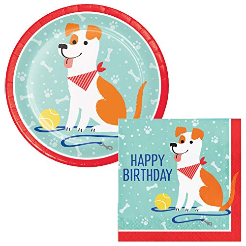 (Puppy Party Happy Birthday Lunch Plates & Napkins Party Kit for)