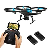 SereneLife WiFi FPV Drone with HD Camera and live Video. Headless Mode Quadcopter, Altitude Hold, 1-Key Takeoff/Landing, Bonus Battery, Low Voltage Alarm