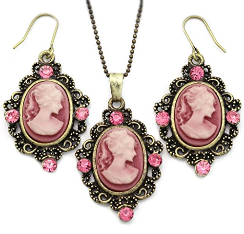 (Soulbreezecollection Cameo Necklace Fashion Jewelry Set Pendant Charm Dangle Drop Earrings Gift for Women (Pink))