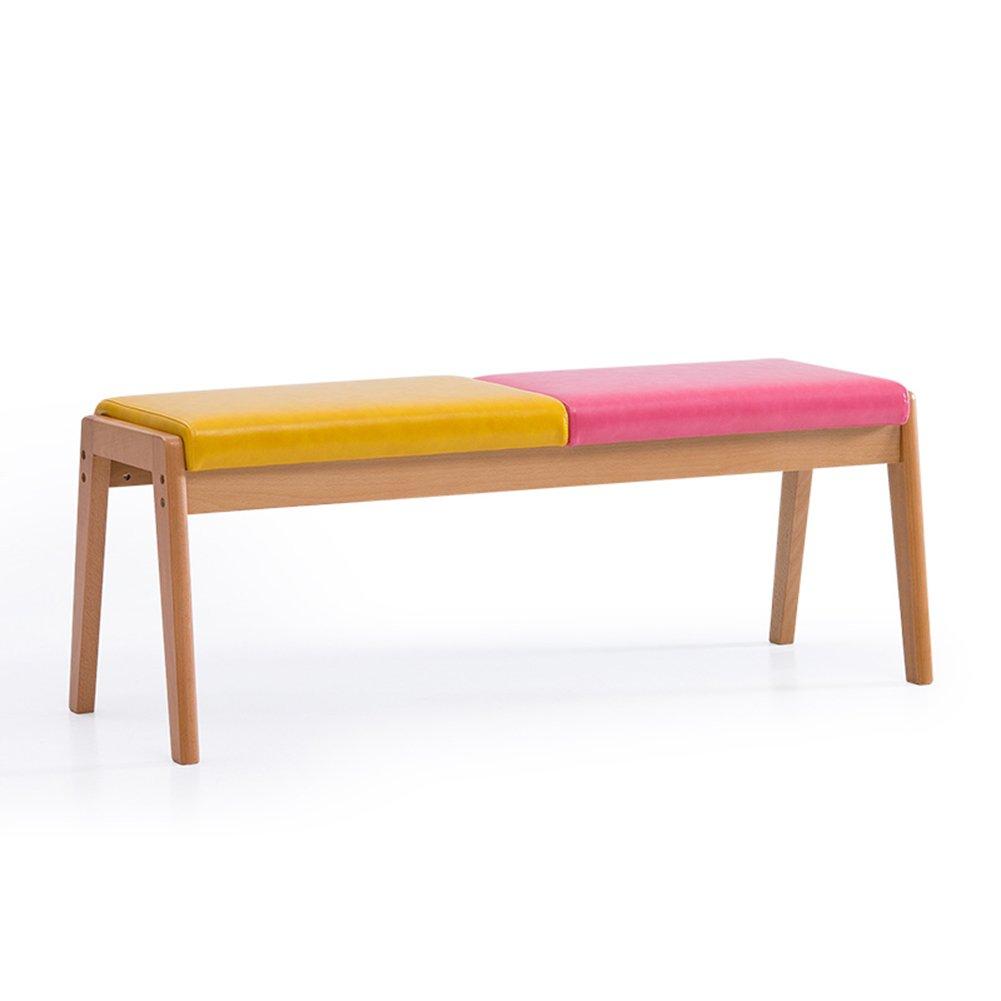 ダイニングチェアPUレザースツール家庭用ベッドテールウエスタンレストランビジネスライブラリ木製耐摩耗性北欧ロングベンチ (色 : Yellow+pink) B07DZZZYJLYellow+pink
