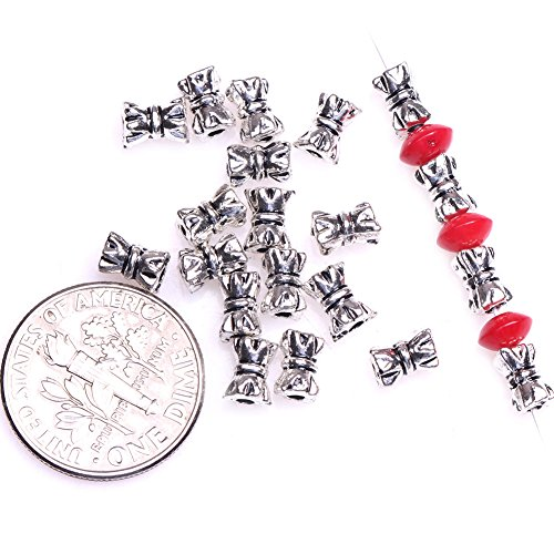 (GEM-inside Tibetan Silver Loose Spacer Beads Small Tube Bali Style Findings Jewelry Making DIY Spacer Beads Charms Jewelry Findings Jewelry Making DIY Connectors 100Pcs FGP0054)