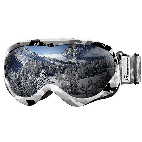 OutdoorMaster Kids Ski Goggles - Helmet Compatible Snow Goggles for Boys & Girls with 100% UV Protection (Black-White Frame + VLT 10% Grey Lens)