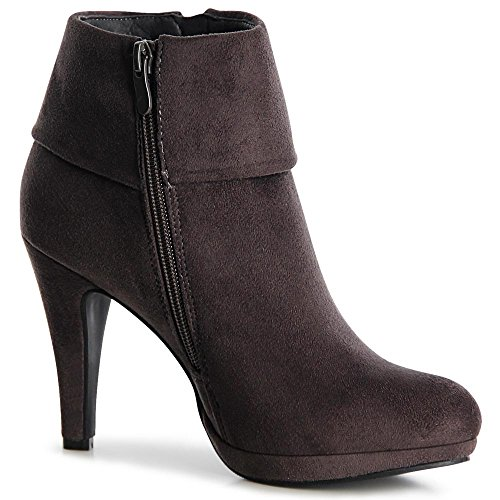 topschuhe24 1074 Damen Plateau Stiefeletten Ankle Boots Grau
