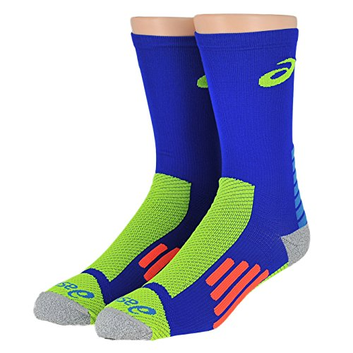 Asics Unisex Rally Crew Socks Bundle Airforce Blue/Safety Yellow (Air Force Fusion)