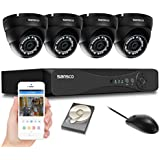 SANSCO Home Security Camera System with 1080P 4-Channel DVR and 4 Dome Cameras (All HD 1080p 2MP), 1TB Internal Hard Drive Disk Smart Surveillance Cameras Kit