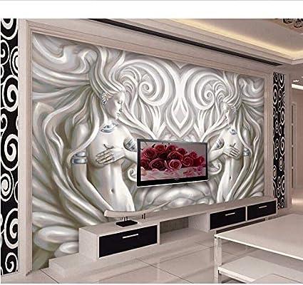 Weaeo 3D Murales En Relieve Ciment Señora Atractiva Del Papel ...