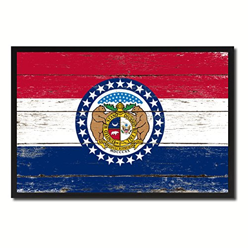 Missouri State Flag Canvas Print, Black Picture Frame Gift Ideas Home Decor Wall Art Decoration