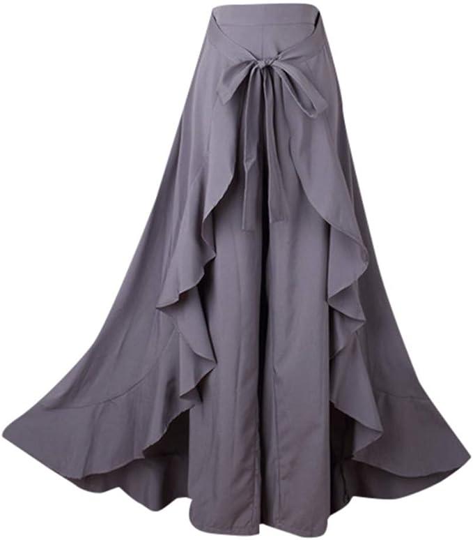 Mujer Falda-Pantalon Plisada Volantes, Mujeres Falda Largos ...