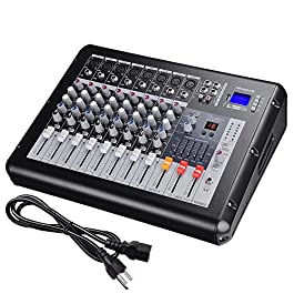 AW 8 Channel Professional Powered Mixer with USB Slot DJ Power Mixing 110V 16.5″x13.2″x5.3″