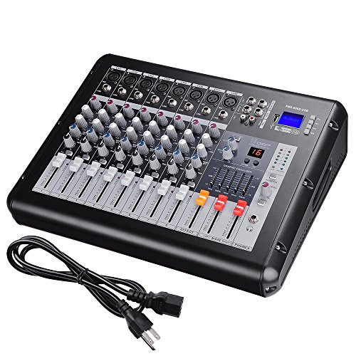 AW 8 Channel 4000 Watt Pro Powered Mixer w/ USB Slot DJ Power Mixing 110V 16.5''x13.2''x5.3'' by AW