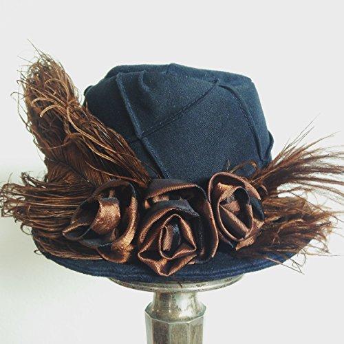 Black Suedecloth - Black Mini Top Hat Steampunk Mini Hat Edwardian Neo Victorian Fascinator