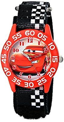 Disney Kids' W001679 Cars Plastic Watch, Black Checkered Nylon Band by Disney