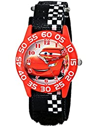 Kids' W001679 Cars Plastic Watch, Black Checkered Nylon Band