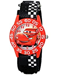 Disney Kids'  W001679 Cars Plastic Watch, Black Checkered Nylon Band