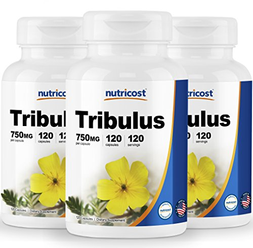Nutricost Tribulus Terrestris Extract 750mg, 120 Capsules 3 Bottles – Testosterone, Strength, Libido