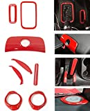 Bolaxin 8pcs/set Interior Handbrake Handle Cover & Armrest Switch Keyhole Trim & Gear Shift Knob Box Trim & Horn Speaker Cover Trim for Jeep Wrangler 2015 2016 (red)