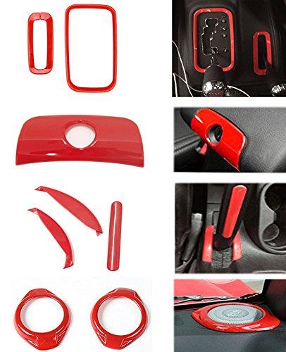 Bolaxin 8pcs/set Interior Handbrake Handle Cover & Armrest Switch Keyhole Trim & Gear Shift Knob Box Trim & Horn Speaker Cover Trim for Jeep Wrangler 2015 2016 (red)
