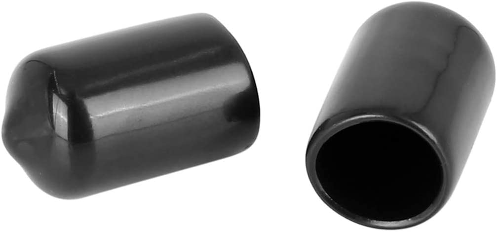 X AUTOHAUX 4pcs Screw End Caps 11.5mm 9//20 Inch ID Round PVC Bolt Thread Protectors Cover Black for Car