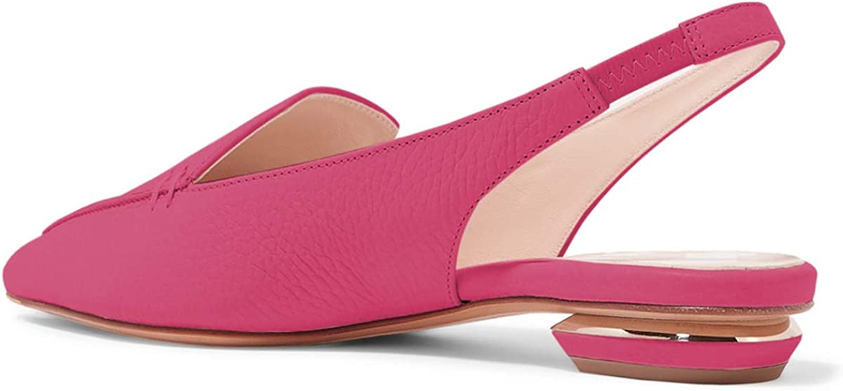 YDN Women Pointed Toe Slingback Low Heel Office Loafer Shoes Comfortable Flat Pumps Hot Pink 7