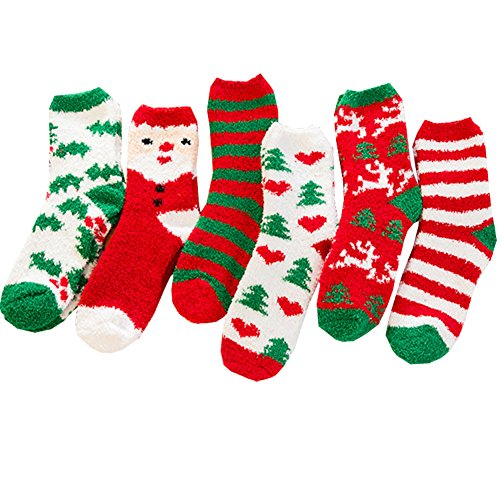 Sherry007 Women's Christmas Holiday Stripes Snowflake Cozy Fluffy Fuzzy Crew Socks]()