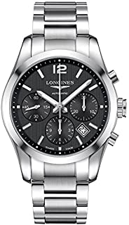 longines menu0027s steel bracelet u0026 case automatic black dial chronograph watch l27864566