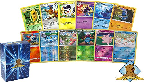 100 Assorted Pokemon Cards with 10 Reverse Foils! Includes Golden Groundhog Box! (10 Best Pokemon Cards)
