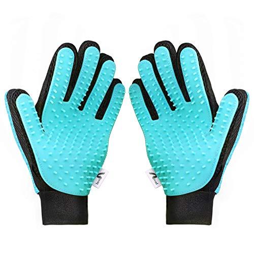 Aival Pet Grooming Glove 2-in-1 Pet Massage Brush Glove - Dog Cat Rabbit Horse Gentle and Efficient...