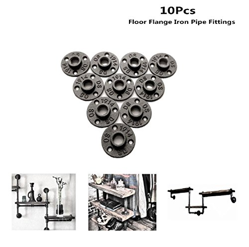 E-UNIONA 10Pcs 1/2 Industrial Steel Grey Malleable Cast Iron Pipe Fittings Floor Flange BSP Threaded Hole By