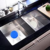 Tub Stopper 2 Pack, V-TOP Silicone Drain Plug Sinks Stopper Flat Suction Cover for Kitchen Bathroom and Laundry 6 inches (White&Blue)