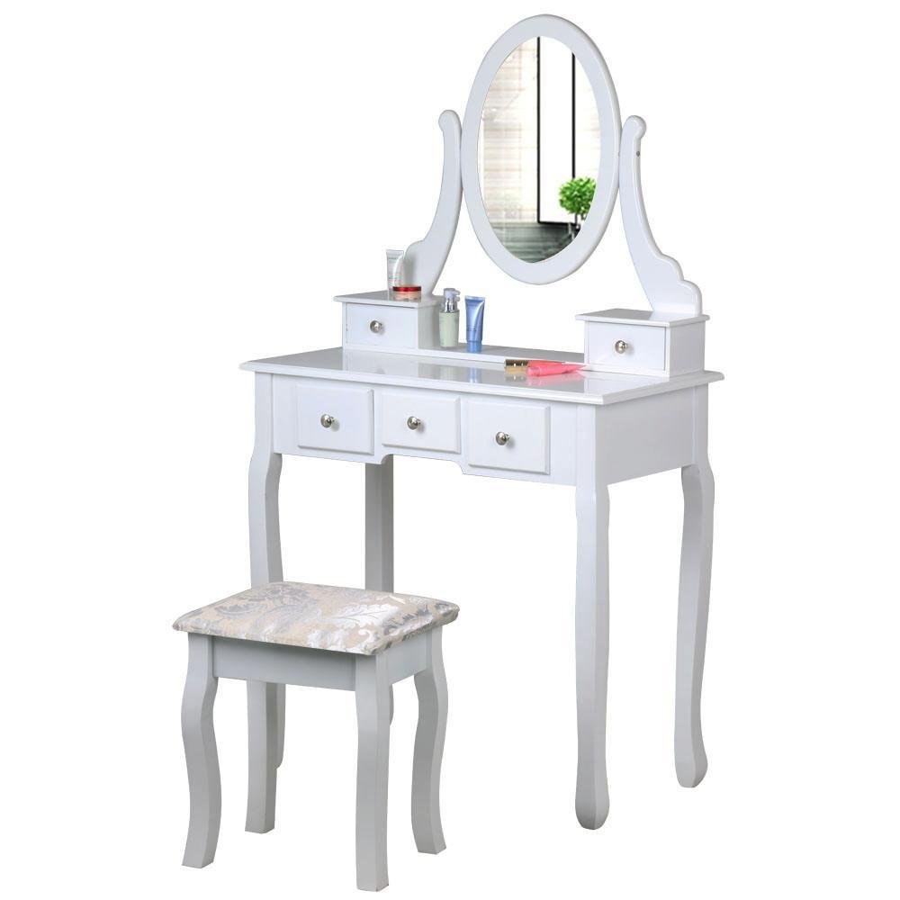 chinkyboo White Wooden Dressing Table Oval Mirror Stool Bedroom Shabby Chic 5 Drawers Makeup Desk Sets